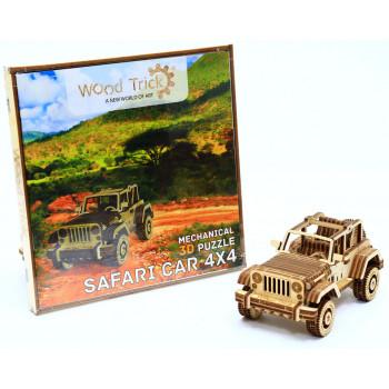 Механический 3D-пазл из дерева Wood Trick Сафари Джип