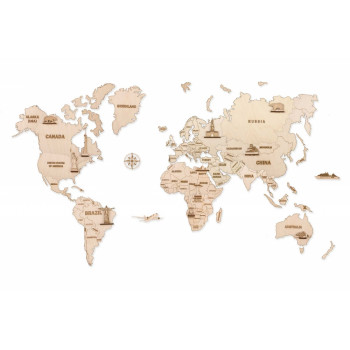 Механическая сборная модель Wood Trick Карта мира L