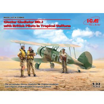 Gloster Gladiator Mk.I с британскими пилотами в тропической униформе сборная модель