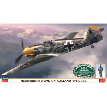 "H07500 Hasegawa Истребитель Messerschmitt Bf109E-4 ""Galland"" с фигурой (1:48)"
