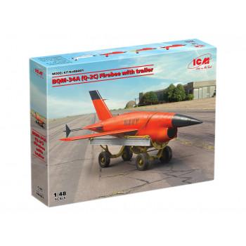 48401 ICM ВQM-34А (Q-2C) Firebee с тележкой сборная модель