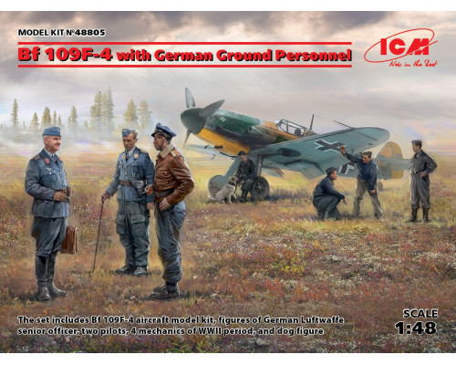 Bf 109F-4 с германским наземным персоналом