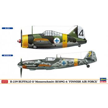 H02279 Hasegawa Набор из самолетов B-239 Buffalo и Messerschmitt Bf109G-6 FAF (1:72)
