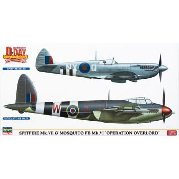 "H02096 Hasegawa Набор Spitfire Mk.VII + Mosquito FB Mk.VI ""Операция Оверлорд"" (1:72)"