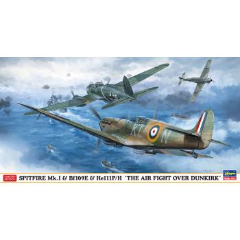 H02270 Hasegawa Набор из 3 самолетов Spitfire Mk.I + Bf109E + He111P/H (Дюнкерк) (1:72)