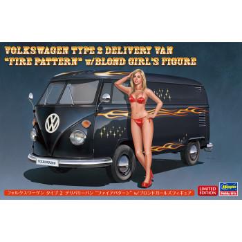 "H52264 Hasegawa Автомобиль Volkswagen Type 2 Delivery Van ""Fire Pattern"" с фигуркой блондинки (1:24)"