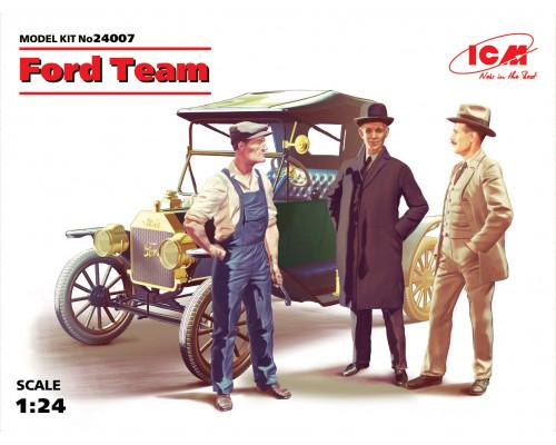 24007 Команда Форда, набор фигур и автомобиль Model T 1913 Roadster ICM, 1/24