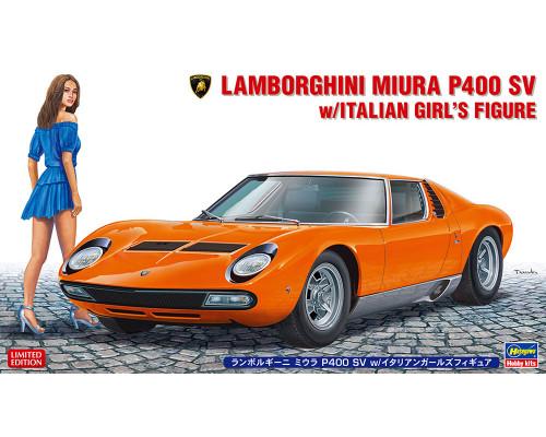 H20423 Hasegawa Автомобиль Lamborghini Miura P400 SV с миниатюрой итальянки (1:24)