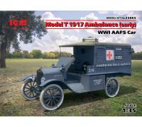 35665 МодельT 1917 г. санитарная (раннего выпуска), Автомобиль американской санитарной службы I МВ ICM, 1/35
