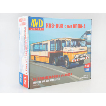 7050AVD Сборная модель Автопоезд КАЗ-608 с полуприцепом АППА-4
