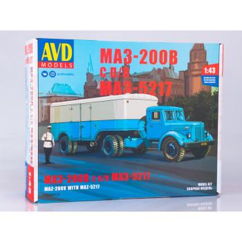 7058AVD Сборная модель МАЗ-200В с полуприцепом МАЗ-5217