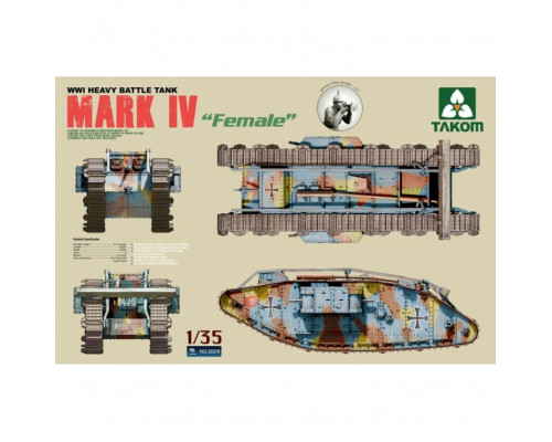 2009 1/35 WWI Heavy Battle Tank Mark IV Female, , шт