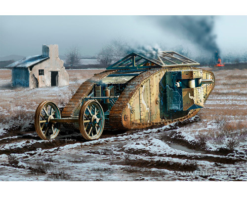 """Британский танк MK I """"Самка"""", период Битвы на Сомме, 1916"""