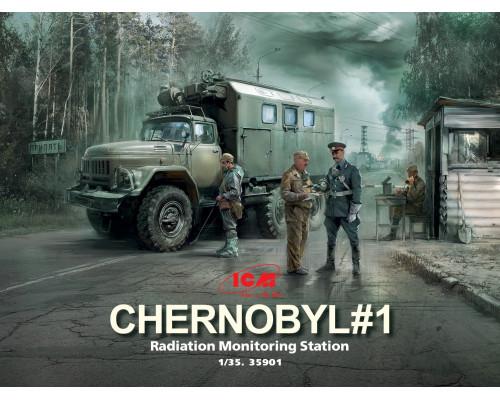 Чернобыль №1. Пункт радиационного контроля (ЗиЛ-131КШМ, 5 фигур и картонная подставка с фоном)