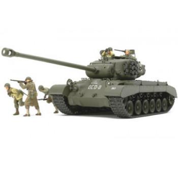 """Американский танк T26E4 """"Super Pershing"""" с пятью фигурами (2 танкиста и 3 пехотинца)"""
