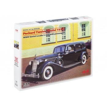 35535 ICM Советский персональный автомобиль Packard Twelve (1936г) с фигурами лидеров (4 шт), 1/35