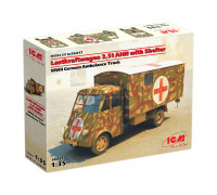 35417 ICM Lastkraftwagen 3.5 AHN с будкой, Германская военная машина скорой помощи 2 МВ, 1/35