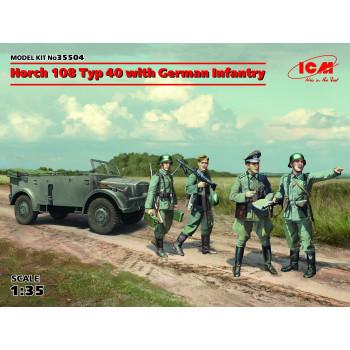 35504 ICM Horch 108 Typ 40 с германской пехотой, 1/35