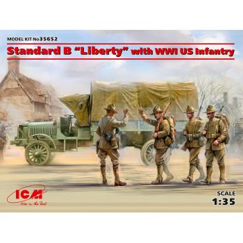 """Стандартный грузовик """"Liberty"""" с пехотой США І МВ сборная модель"""