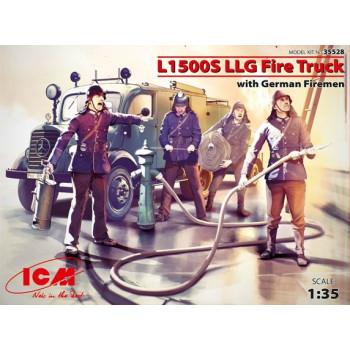 35528 ICM Пожарная машина L1500S LLG с германскими пожарными, 1/35