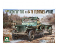 2126 1/35 U.S. Army 1/4 ton utility truck with 1/4 ton utility trailer & MP figure