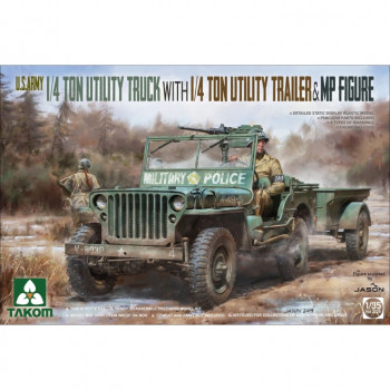 2126 1/35 U.S. Army 1/4 ton utility truck with 1/4 ton utility trailer & MP figure
