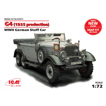 Германский автомобиль G4 (производства 1935 г.), ІІ МВ (сборка без клея) сборная модель