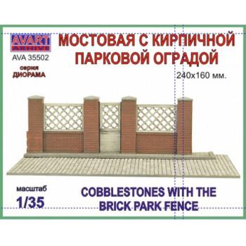 AVA35502 Серия Диорамы, Мостовая с кирпичной парковой оградой (240X160 мм)