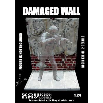 """KAV Sc24 001 Основание для фигур """"Поврежденная стена"""" KAV models"""