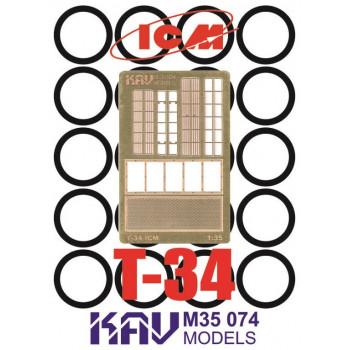 KAV M35 074 Фототравление и окрасочная маска на Т-34 (35365, 35366, 35367, 35368) KAV models