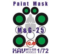 Окрасочная маска на остекление МиГ-25 (ICM 72171, 72172, 72173)