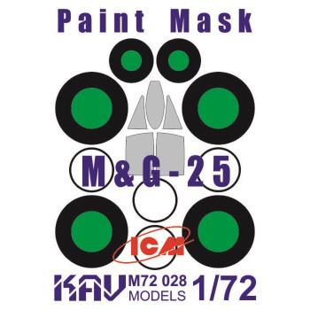 KAV M72 028 Окрасочная маска на остекление МиГ-25 (ICM 72171, 72172, 72173) KAV models