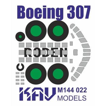 KAV M144 022 Окрасочная маска для модели Boeing 307 производства Roden (Маска для окраски остекления кабины и шасси) KAV models