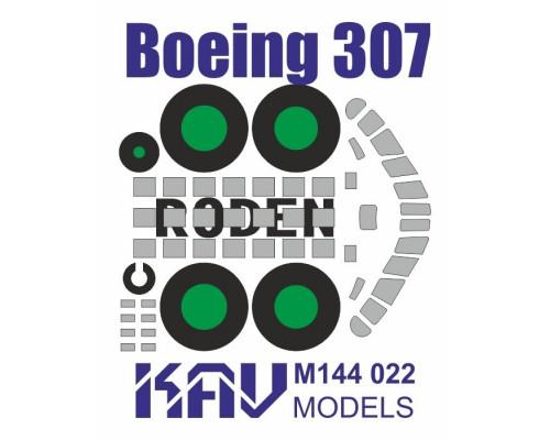 Окрасочная маска для модели Boeing 307 производства Roden (Маска для окраски остекления кабины и шасси)