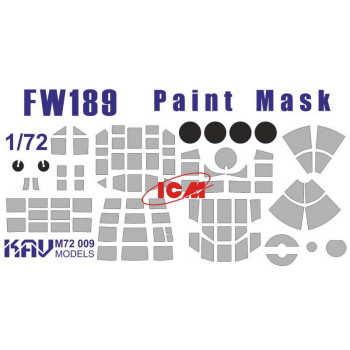 KAV M72 009 Окрасочная маска на остекление FW 189 (ICM 72291, 72292, 72293, 72294) KAV models