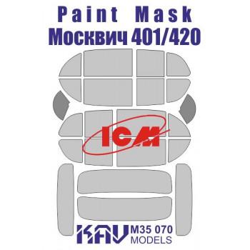 KAV M35 070 Окрасочная маска на остекление Москвич 401-420 (ICM 35479) KAV models