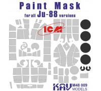 Окрасочная маска на остекление Ju-88 (ICM 48232, 48233, 48234, 48235, 48236)