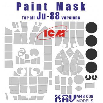 KAV M48 009 Окрасочная маска на остекление Ju-88 (ICM 48232, 48233, 48234, 48235, 48236) KAV models