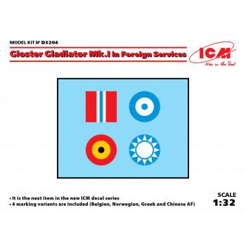 Декаль Gloster Gladiator Mk.I/II на иностранной службе сборная модель