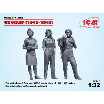Фигуры, Летчицы на службе ВВС США (1943-1945 г.) (3 фигуры) сборная модель