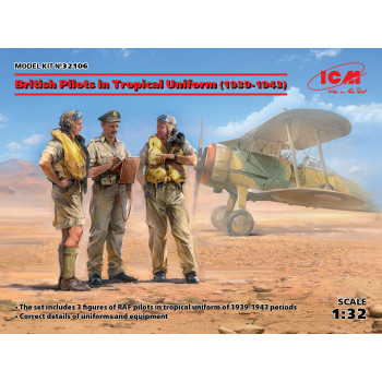 Фигуры, Пилоты ВВС Великобритании в тропической униформе (1939-1943) (3 фигуры) сборная модель
