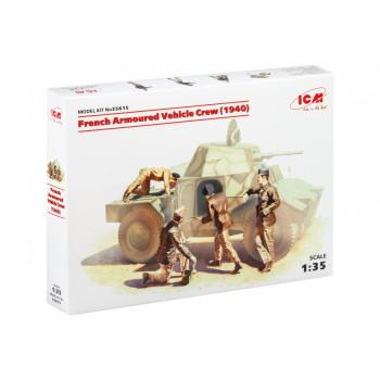 35615 ICM Фигуры Французский экипаж бронеавтомобиля (1940 г.), (4 фигуры) , 1/35