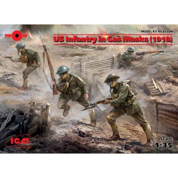 Фигуры, Пехота США в противогазах (1918 г.) сборная модель