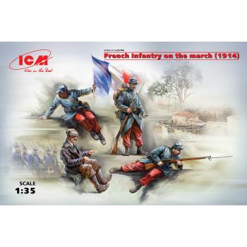 Фигуры, Французская пехота на марше (1914 г.) сборная модель