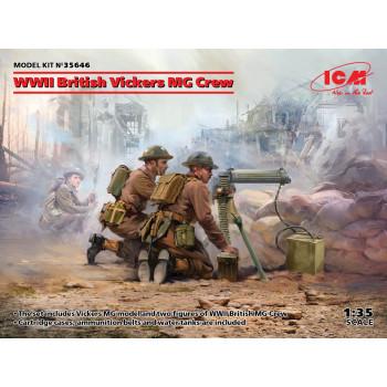 35646 ICM Фигуры, Расчет британского пулемета Vickers II МВ (пулемет Vickers и 2 фигуры) , 1/35