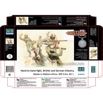 Фигуры Рукопашный бой, британская и немецкая Пехота. Бои в Северной Африке. Кит 1
