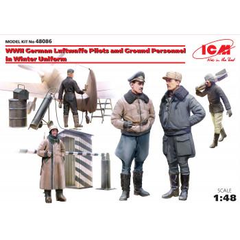 Фигуры Пилоты и техники ВВС Германии (зимний вариант) 2МВ сборная модель