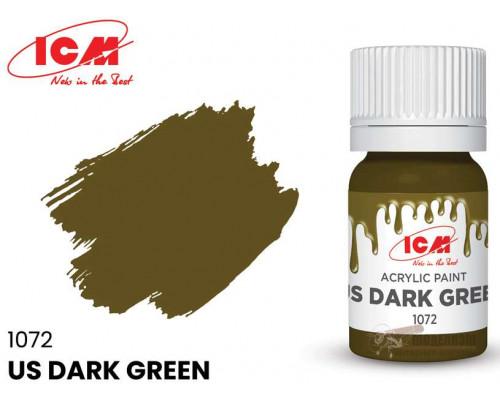 C1072 Краска для творчества, 12 мл, цвет Американский темно-зеленый(US Dark Green)