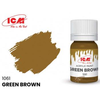 C1061 Краска для творчества, 12 мл, цвет Зелено-коричневый(Green Brown)